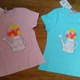Стильная футболка для девочек, Цветы 116..146 см,Венгрия