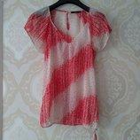 Размер 10 Яркая и нежная фирменная шифоновая блузка блуза