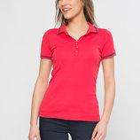 красная женская футболка-поло LC Waikiki / Лс Вайкики с темной окантовкой