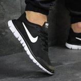Кроссовки мужские сетка Nike Free Run 3.0 черные с белым