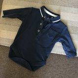 0-3 мес Next, коллекция 2016, бодик-поло бодик-рубашка с длинным рукавом, мягусенький хлопок