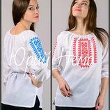 44-58 Вышиванка женская с пояском, жіноча сорочка, вишиванка. Женская вышиванка