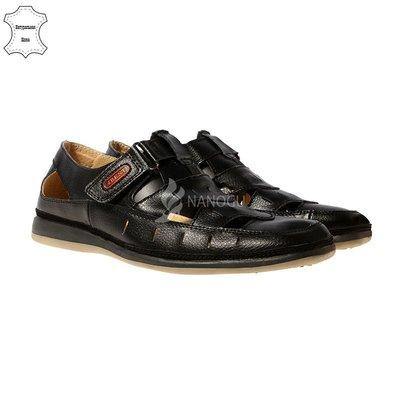 Туфли кожаные 4Rest USA черные на липучках мужские