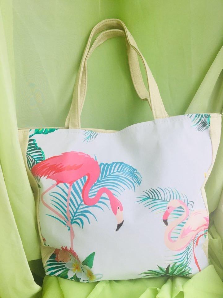 Пляжная сумка фламинго тропик  220 грн - пляжные сумки в Луцке, объявление  №17386801 Клубок (ранее Клумба) a879a654859