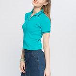 бирюзовая женская футболка-поло LC Waikiki / Лс Вайкики с синей окантовкой