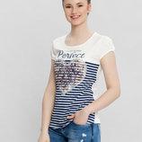 белая женская футболка LC Waikiki / Лс Вайкики с сердцем на груди и надписью Perfect