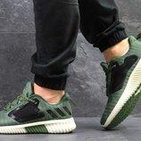 Adidas Climacool M кроссовки тёмно зелёные с белым 5328