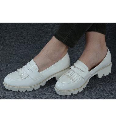 Нарядные Шикарные Туфли Белые -Лак На Белой Платформе Польша