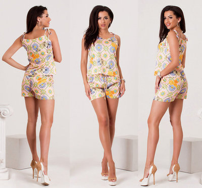 fbef34494f6 Женский летний костюм с шортами 160 Армани Орнамент в расцветках ...