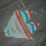 XS/36 H&M белый полосатый раздельный купальник,бюстик шторки