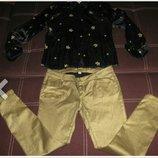 Джинсы скинни Amisu с золотистым напылением и атласная блуза