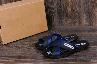 Мужские кожаные шлепанцы Reebok black and Blue track