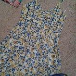 Next красивое хлопковое платье с драпировкой в цветочный принт