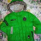 курточка куртка зеленая зимняя 4-5 г 104-110 р
