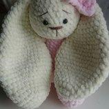 Зефирная зайка заяц вязаный игрушка мягкая