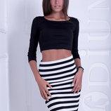 Миди юбка в полоску летняя женская юбочка