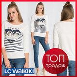 белый женский реглан LC Waikiki / Лс Вайкики с сердцем и надписью на груди NYC