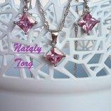 Комплект, набор стерлинговое серебро кулон, цепочка и серьги ромбик розовый