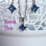 Комплект, набор стерлинговое серебро кулон, цепочка и серьги ромбик синий