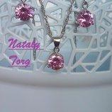 Комплект, набор стерлинговое серебро кулон, цепочка и серьги круг розовый