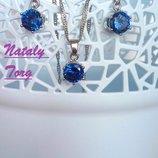 Комплект, набор стерлинговое серебро кулон, цепочка и серьги круг синий