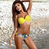 Модный стильный купальник халтер с цветными плавками