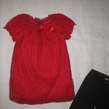 7-10 лет, шикарная нарядная фатиновая туника блузка с блёстками