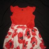 1,5-2 года, нарядное пышное платье с красными маками Nutmeg