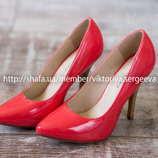 Новые стильные яркие кораловые туфли, босоножки на каблуке