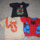 Яркие футболки малышу на 9-12 мес3шт