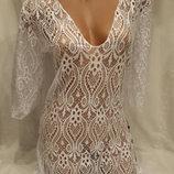 Платье-Туника пляжное 025 Тиффани белая на наши 42-50 размеры