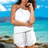 Пляжный костюм белый комбинезон на завязках Leila Marko