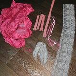 Кружево широкое и тонкое молнии коротки длинная плащевка розовое белое
