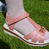 Детские сандали босоножки для девочки розовые персиковые