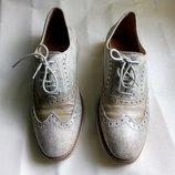Стильные кожаные туфли броги оксфорды на шнуровках с перфорацией р.39 40