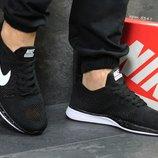 Nike Flyknit Racer кроссовки черно белые 5347