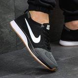Кроссовки мужские сетка Nike Flyknit Racer gray/black