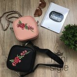 Сумка сумочка на пояс бананка чёрного пудровый розовый cross body цвета