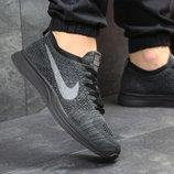 Кроссовки мужские сетка Nike Flyknit Racer dark grey