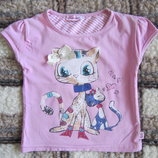 Розовая футболка с кошками bobito р. 110-116 см