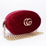 Велюровый клатч на цепочке, сумочка на пояс Gucci 2038-1 бордовая