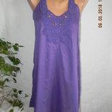Легкое новое натуральное пляжное платье-туника с кружевом