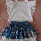 Стильнючие вещи,натур. ткани.,блузки,майки и юбка,на 4-6 л.,в идеале
