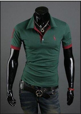 Мужская футболка с воротником зеленая код 56