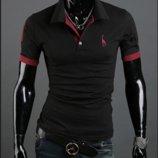 Мужская футболка с воротником черная код 56