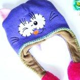 Демисезонная шапка 2-3г Котик