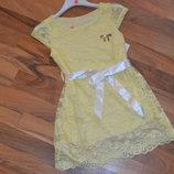 нарядное ажурное платье цвета солнца 4-14 лет
