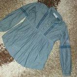 Рубашка женская коттон джинсового цвета 44 размера