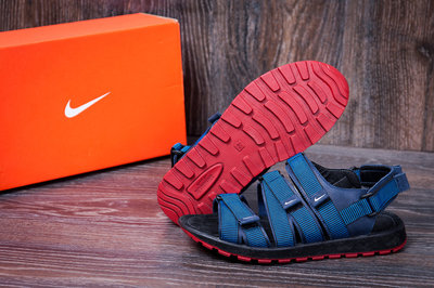 Мужские кожаные шлепанцы сандалии Nike Summer life blue
