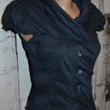 Блуза XS, классическая блуза, женская блуза, короткая блуза, блуза с коротким рукавом, блуза с рюшей